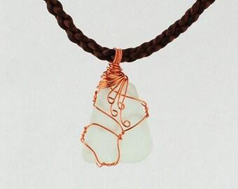 Pale green seaglass pendant, Seaglass pendant, Cape Cod seaglass pendant, Reversible seaglass pendant, Womens pendant, Wire wrapped seaglass