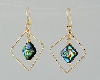 Gold Diamond Hoop Earrings, Gold Abalone Earrings, Ladies Large Hoop earrings Shell and Gold Earrings