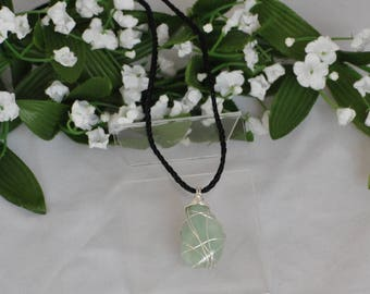 Wire wrapped Agate - Sterling wire wrapped stone - Pale green agate pendant - Reversible pendant - Sterling and stone pendant
