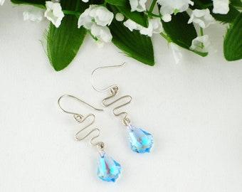 Blue Crystal earrings, Shock wave earrings Swarovski crystal earrings, Turquoise Earrings, Wire wrap earrings, Blue Briolette Earrings