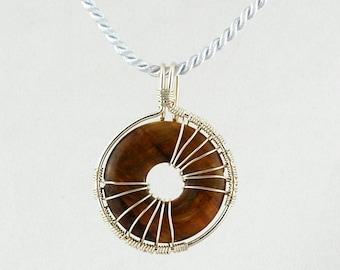 Tiger's eye pendant, Donut Pendant, Stone Donut Pendant, Sterling Wrapped pendant,Wire wrapped Donut Tiger Eye Pendant, Reversible pendant