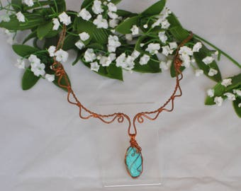 Baroque/Renaissance inspired necklace - Copper and Turquoise necklace - Recycled copper wire necklace -  Wire wrapped Necklace