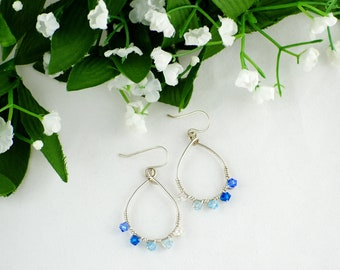 Sterling Hoops, Ombre Blue Earrings, Blue Crystal hoopsSwarovski Blue earrings, Teardrop Hoops, Wire wrap Crystal earrings