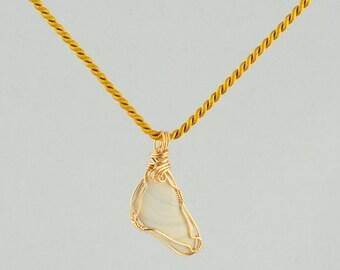 Cape cod shell pendant, Wire wrap shell pendant, Reversible pendant, White and gold shell pendant, Gold shell pendant, Woman's Pendant