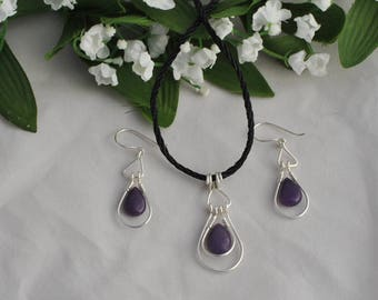 Sterling silver and purple stone set - Sterling hoop set - Silver and black set - Modern/classic set - Jewelry set - Earring and pendant set