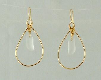 Gold Teardrop Hoop Earrings, Sea glass and Gold Earrings, Women's Gold Hoops, White Sea Glass and Gold Earrings