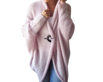 Plus Size Over Size Pink Wool Overcoat - Poncho - Cardigan a812186d4