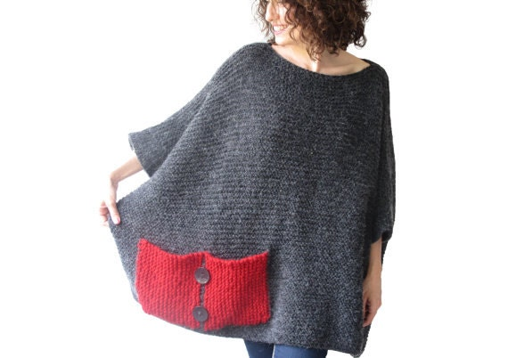 Plus Size Over Size Sweater Dark Gray Red Hand Knitted Etsy