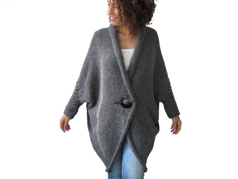 Plus Size Over Size Alpaca Wool Hand Knitted Dark Gray Wrap Sweater Cardigan