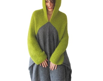NEW! Green - Gray Pelerine by AFRA Over Size Plus Size