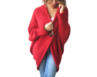 NEW! Plus Size Over Size Red Wool Overcoat - Poncho - Cardigan
