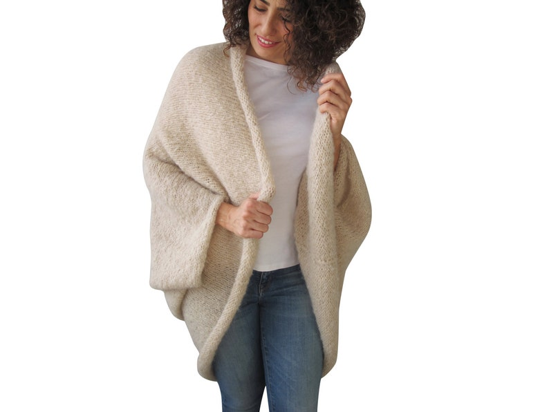 Overcoat Wool Poncho Big Size Poncho Wool Cardigan Oversized Poncho Oversize Poncho Plus Size Cardigan Hand Knit Cardigan