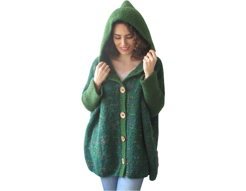 Hooded Cardigan Plus Size Cardigan Wool Hand Knitted  a1b10ab62