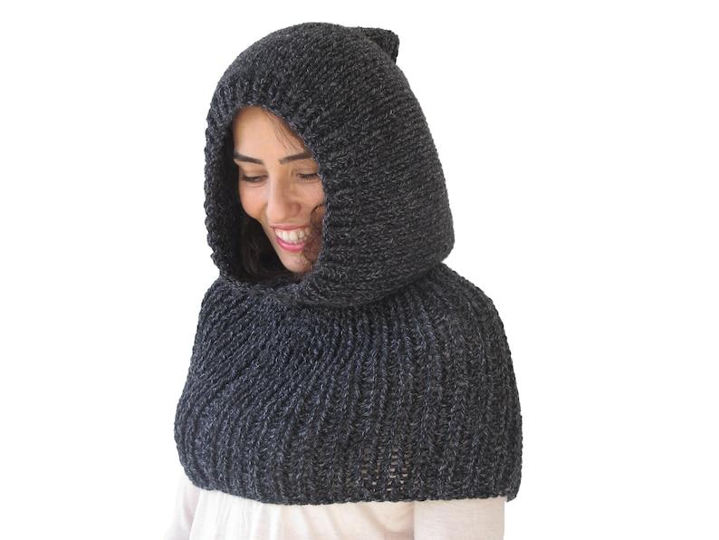 a85e11314e7 Wool Hood, Hooded Scarf, Unisex Hooded Scarf, Wool Capalet, Hooded Cowl,  Unisex Cowl