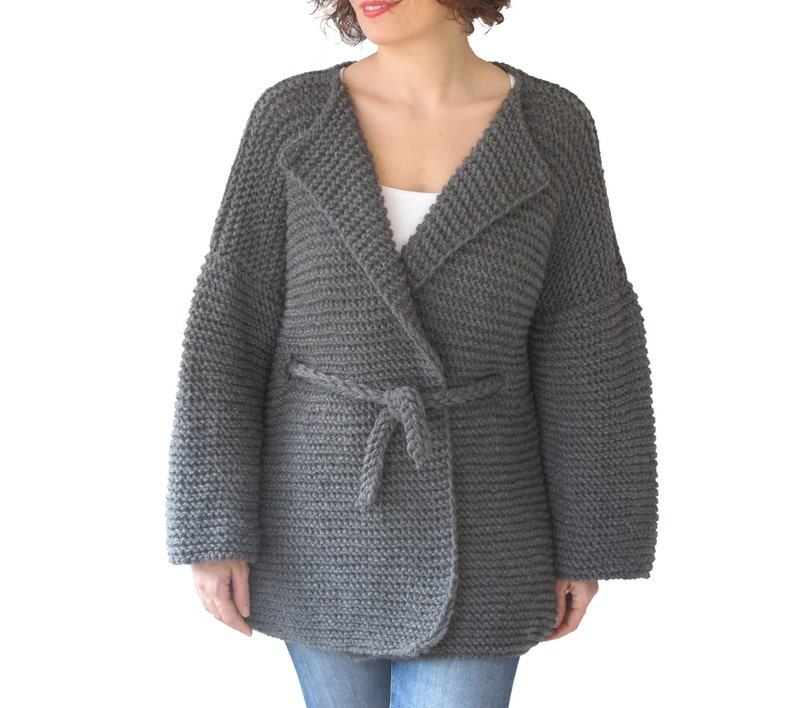 3217e428d NEW! Dark Gray Cardigan with Knitting Belt by Afra Plus Size Over Size