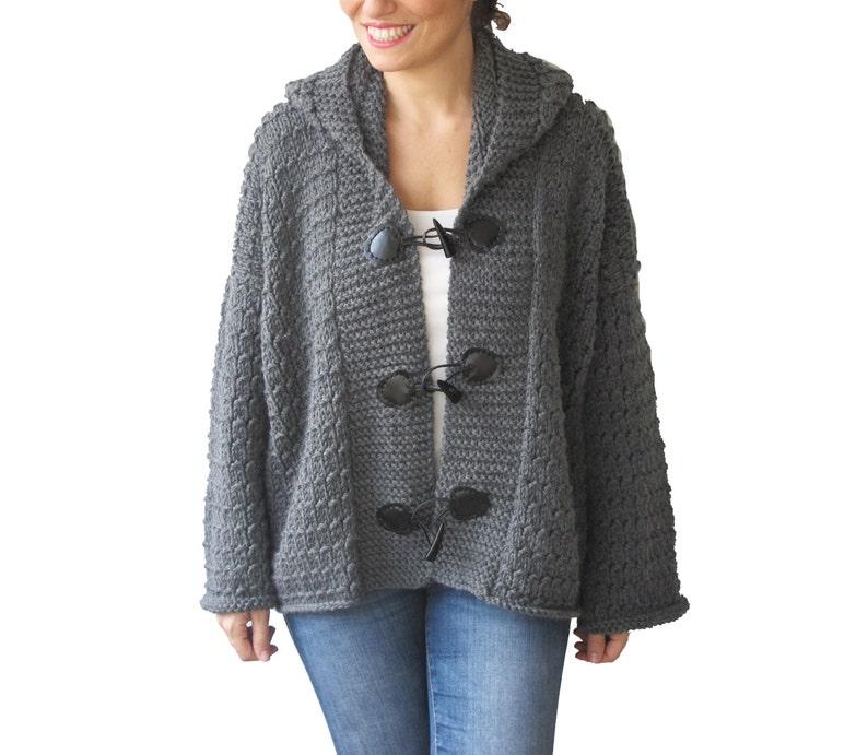 Pink Knitwear Granny Square Jacket Gray Coat Patchwork Jacket Afghan Cardigan Overcoat