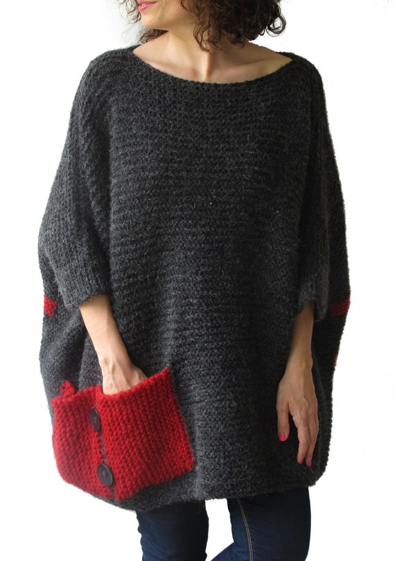 Plus Size - Over Size Sweater Dark Gray - Red Hand Knitted Sweater with Pocket Tunic - Sweater Dress by Afra