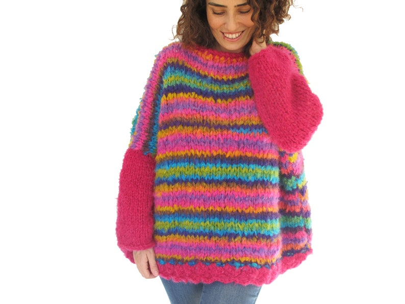 newest 5e07b b6f63 Grobstrick Pullover, lose passen Pullover, übergroße Pullover, geschwollene  Strickpullover, dicker Wolle, rosa Wollpullover, rosa Wollpullover
