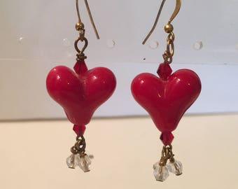 Red Heart Earrings, Glass Heart Dangle Earrings, Hearts & Crystals Earrings, Glass Hearts and Crystal Bead Dangles Earrings, Valentine's Day