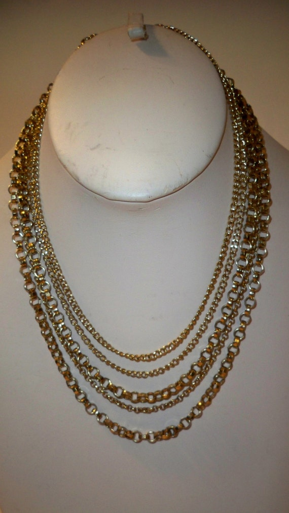 Gold Chains Necklace, Multi Strand Chain Necklace,