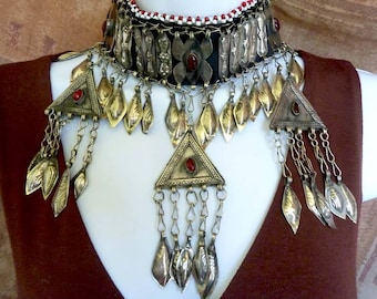 Vintage Turkoman Choker Necklace with Dangle Charms, Elaborate Ethnic Collar Necklace