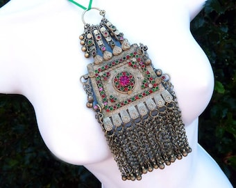 Huge Vintage Handmade Waziri Belly Dance Pendant from Afghanistan, Ornate Ethnic Pendant with Long Chains