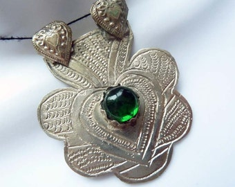 Primitive Style Ethnic Pendant from Pakistan, Kashimir White Metal Pendant with Heart Design