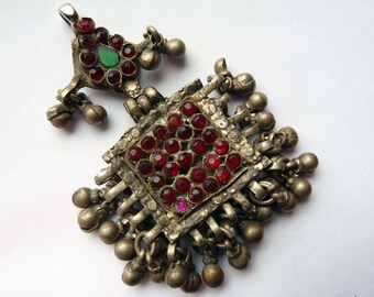 Small Vintage Fancy Kuchi Pendant from Afghanistan, Handmade Yellow Metal Ethnic Pendant Embellished with Dangle Charms and Glass Cabochons