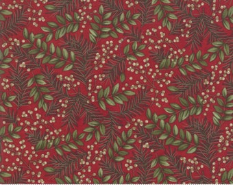 Winter Manor Fabric 6772-15 Berries Pine On Red Holiday Quilt Shop Quality Moda