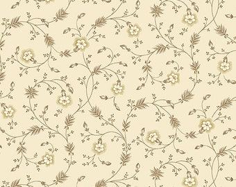 HABERDASHERY - Half Yard - Vintage Floral Vines Pattern in Cream and Tan Brown Reproduction Quilting Fabric Jo Morton Andover - A-7642-N