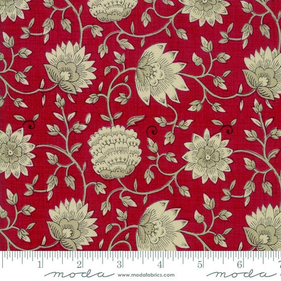 13823 15 MODA Fabric ~ LA VIE EN ROUGE ~ French General Oyster Rouge by 1//2 yd