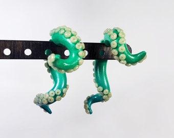 Green and Teal Octopus Tentacle Fake gauge spiral earrings