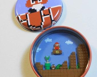 Super Mario Bros candy tin Diorama resin polymer clay nintendo sculpey videogame nes retro gaming blooper goomba piranha plant