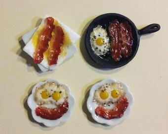Skillet bacon and eggs dollhouse miniature breakfast set