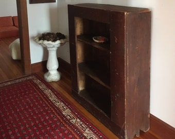 Antique Bookshelf, Wood Cabinet, Antique Bookcase , Pantry Shelf, Vintage Bookshelf, Dark Wood Shelf, Shelf Storage, Primitive Bookshelf