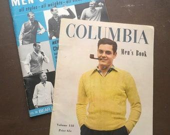 Vintage Knitting Pattern, Men's Pattern Book, Knit Patterns Vintage, Men's Sweater Patterns, Vintage Men's Sweater Patterns, Columbia Yarns