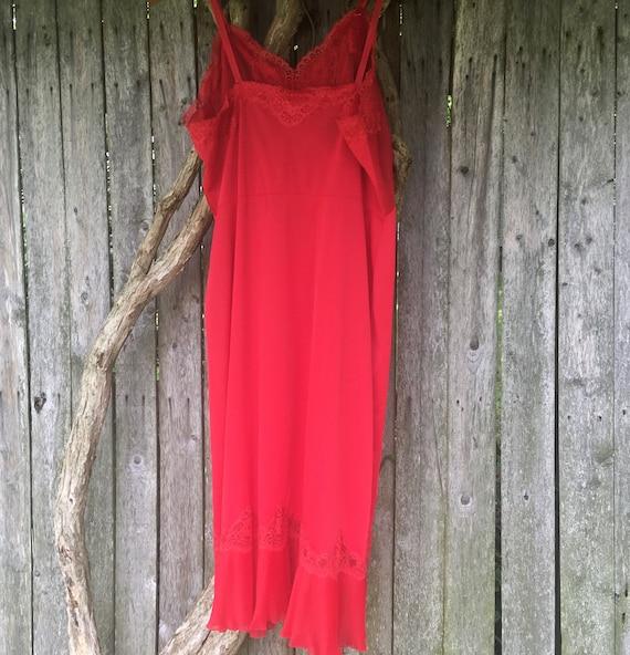 Vintage Slip, Red Chemise, Vintage Red Slip, Lacy… - image 8