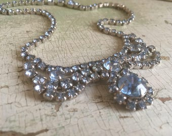 Vintage Crystal Necklace in Ice Blue