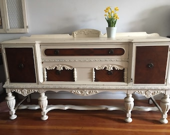 SALE 1920s Jacobean Sideboard, Buffet Cabinet, Vintage Sideboard, Formal Dining, Dining Room, Console, Vintage Credenza, Antique Buffet