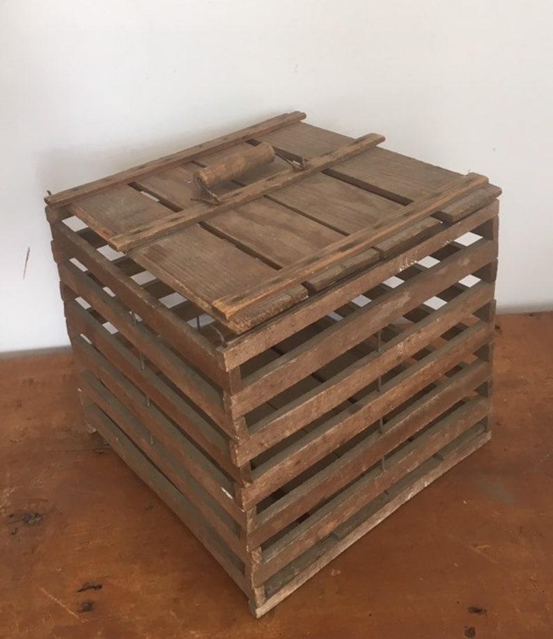 Antique Chicken Crate, Fantastic Vintage Wooden Poultry Carrier, c  1910s