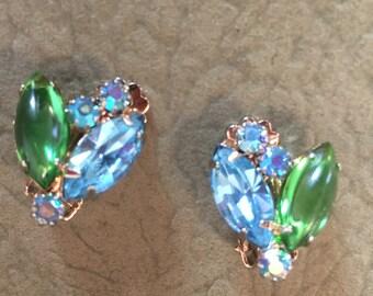 Vintage Weiss, Crystal Earrings, Clip-on, Sparkly Earrings, New Years Eve, Jewelry, Vintage Jewelry, Bling, Green, Blue, Designer Earrings