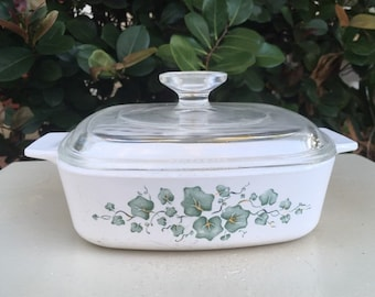 Vintage Corningware, Casserole Dish, Ivy Casserole, Corningware Callaway, Callaway Casserole Dish, Pyrex Casserole Dish, Pyrex Callaway Ivy