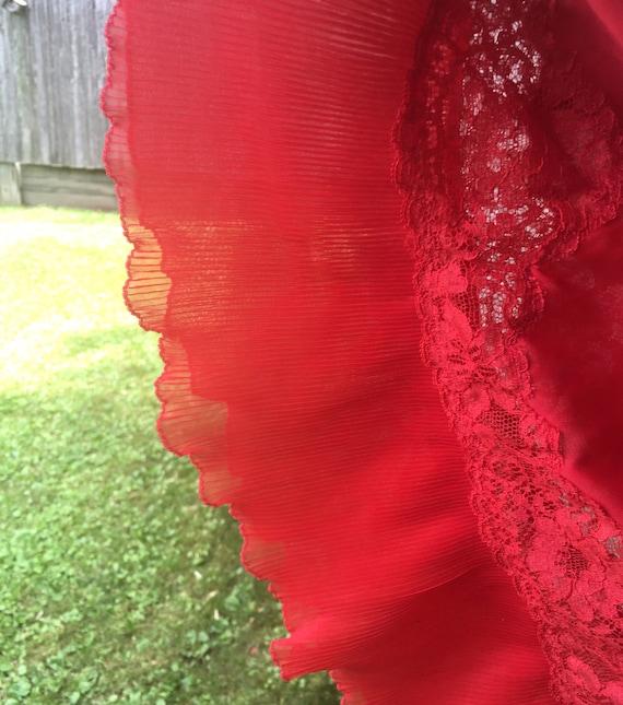 Vintage Slip, Red Chemise, Vintage Red Slip, Lacy… - image 3