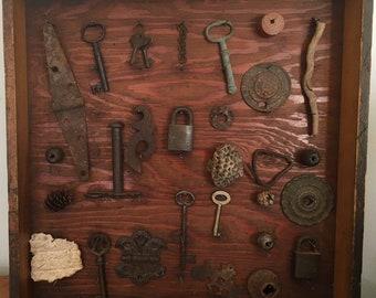 Shadow Box, Vintage, Assemblage, Wall Decor, Skeleton Keys, Vintage Wood, Vignette, Vintage Locks, Wall Art, Rusty Metal, Assemblage Art