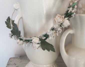 Floral Crown of Vintage Millinery Flowers and Leaves, Handmade, One of a Kind, Ready to Ship