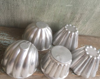Vintage Aluminum Jello or Ice Cream Molds, Mismatched Set of Five