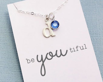 Personalized Initial Necklace   Birthstone Necklace, Birthstone Charm, Personalized Jewelry, Personalized Gifts, Crystal, Monogram   X03