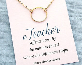 Teacher Gifts | Circle Necklace Teacher Gift, Graduation Gift Class of 2018, Mentor Gift, Teacher Appreciation, Gift for Teacher | T02