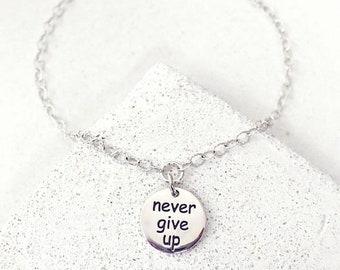 Inspirational Bracelet, Motivational, Never Give Up, Mantra Bracelet, Marathon Jewelry, Dainty Bracelet, Gift-for-Bestfriend, Bestie, BFF
