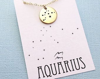 Aquarius Jewelry | Aquarius Necklace, Zodiac Jewelry, Zodiac Necklace, Constellation Necklace, Astrology Jewelry, Zodiac Sign Necklace